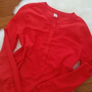 Red Long Sleeve Blouse With Buttons and Pockets
